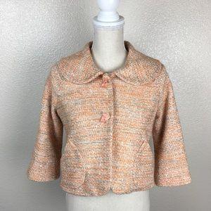 Anthro Elevenses Cropped Tweed Blazer/Jacket